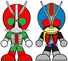 Chibi Kamen Rider V3 and RiderMan by Zeltrax987