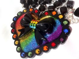 Rainbow Heart necklace by pinkminx