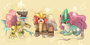 Baby Legendary Beasts by LizardonEievui13