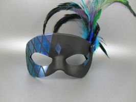 Blue, Green, and Purple Stained Glass Mask by maskedzone