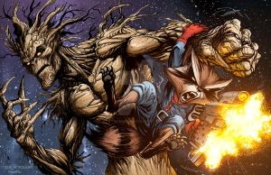 Rocket Raccoon and Groot by TylerKirkham