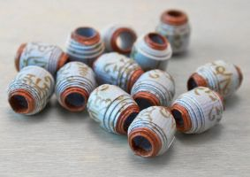 Mantra Prayer Scroll Paper Beads in Light Blue by OneUrbanTribe