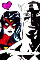 Spider woman and Cap by Jason-Lee-Johnson