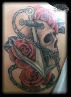 Skull and anchor by state-of-art-tattoo