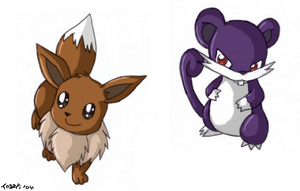 - Eevee and Ratatta - by pdutogepi