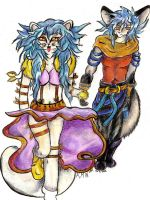 Arctic Fox + Bat-eared Fox by LightningSilver-Mana