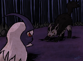RQ : Absol vs Mightyena by Lauzi