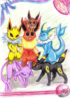 Kanto-Johto Eeveelutions by Fly-Sky-High