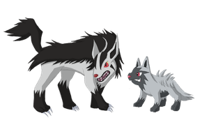 Poochyena and Mightyena by BurningAshDragon