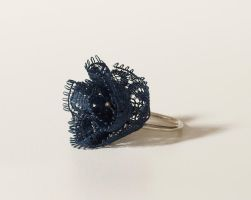 Dark blue lace ring by yaelkaufman