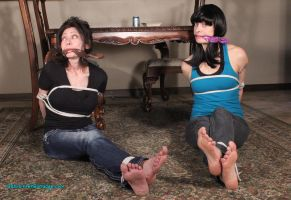 Mom and Babysitter Tied Up for a Game by CentaurCelluloid