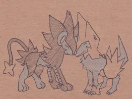 Luxray and Manectric by stefania-zee