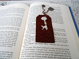 Brown Mini Steampunk Leather Bookmark by random-wish