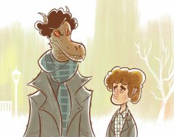 Smauglock Holmes and Bilbo Watson by bear65