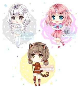 Commission - Chibi Animals Gijinka by kawaiimiu