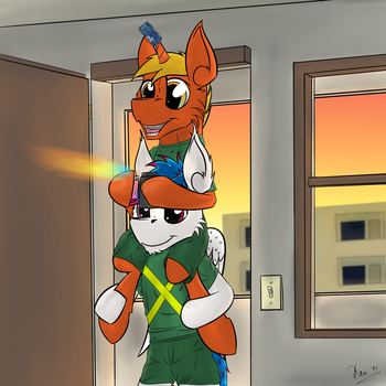 Welcome to the barracks. We'll be your guide. by KamiThePony