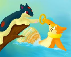 Littlequil and Buizel by Bowtiefoxin
