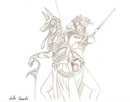 Anubis and Ra by DensetsuNoLuka