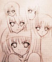anime girl expressions sketch by agarest-of-war