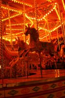 Carousel Horses at Night by Jaspersmum