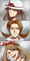Female protagonists's battle faces by Ginkirii