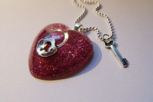 Lock n Key  Pink glitter heart by 2littleKisses