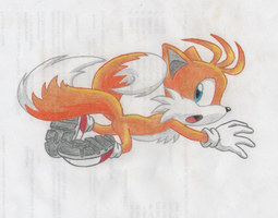 Tails Lineart colored 2 by laryssadesenhista