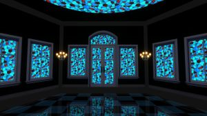 Blue stained glass hall stage MMD DOWNLOAD by Hack-Girl