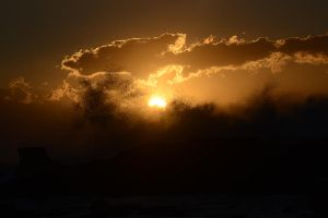 Rough Sea, Water Spray and Sunset by albyriccio