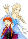 Frozen Anna and Elsa Raw Drawing by WibbitGuy