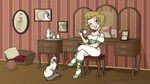 A victorian woman enjoying her tea with her cat by Little-Katydid