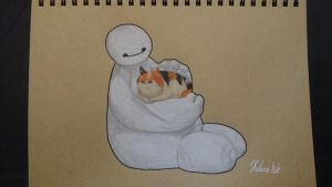Baymax and the haaairy baby! by THfreaken