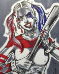 Harley Quinn Sketch Card by aldoggartist2004