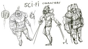 Sci-fi character concepts in linework by Ranivius