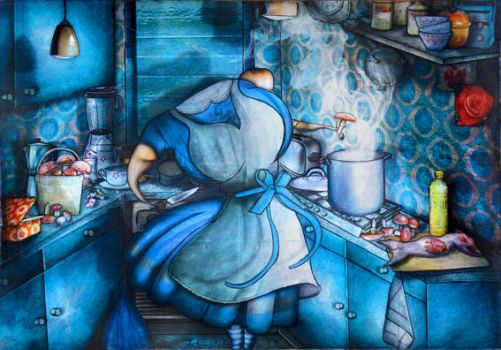 Alice in Wonderland in her kitchen by jeremiebaldocchi