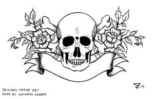 Tattoo skull lineart by Rockall
