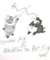 Spider pig and Bat Pig by komi114