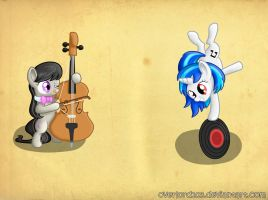 Octavia and Vinyl Scratch by Dracodile