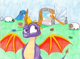 Spyro: Posing for photo? Yes, unaware? No. by WeaselwithDynamite