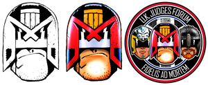 UK Judges Forum Logo - Dredd Head by Colin MacNeil by strangelysaucy