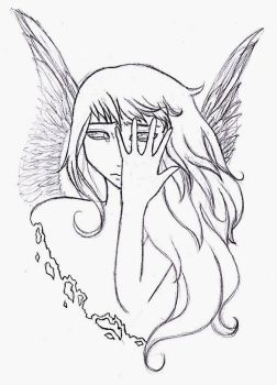 Angels don't Cry -lineart- by Neko-Erure-chan