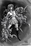 monsters and schoolgirl by FASSLAYER