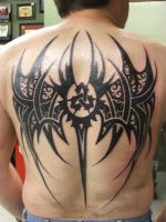 Full Back Tattoo Triquetra by sam110264