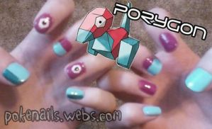 Porygon Nail Art Design by Pandamoniuum