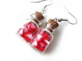 FOR SALE Bottle earrings - Strawberry by Benia1991