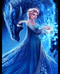 Elsa and Ice Dragon by magmi