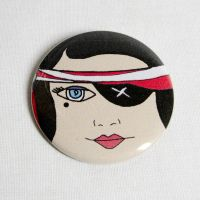 Pirate Girl Pinback Button by ange-etrange