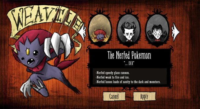 Weavile the NERFED Pokemon - Don't Starve by JohnSegway