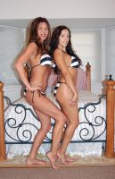 Holly Wood and Francesca Le' - Striped Bikinis by slamm345