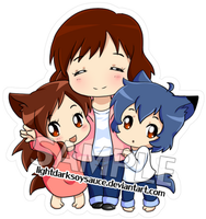 FA: Wolf Children Keychain/Phone Charm by LightDarkSoySauce